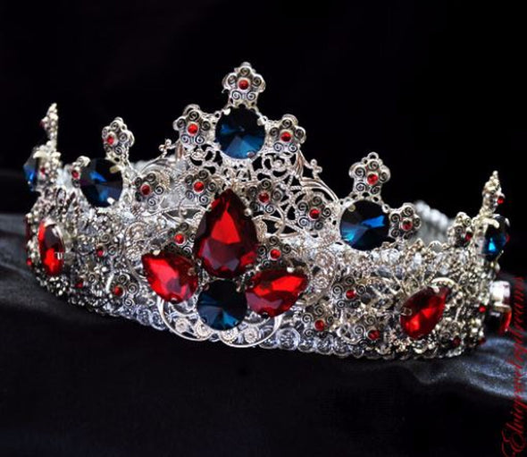 ORSINA Blue Wedding Bridal Crystal Silver Couple Crowns - Cosplay Infinity