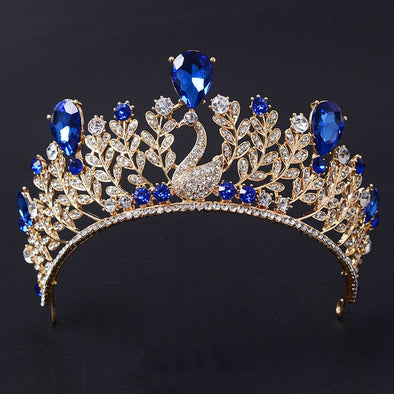 New Peacock Crystal Royal Blue Big Drip Tiara Crown Princess Pageant - Cosplay Infinity