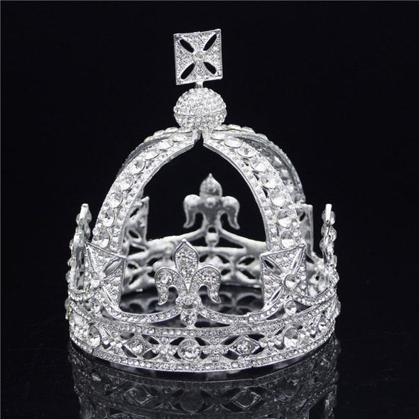 Royal Queen King Tiaras Crown Men Round Diadem Bridal Tiaras and Crowns Headdress Wedding Hair Jewelry - Cosplay Infinity