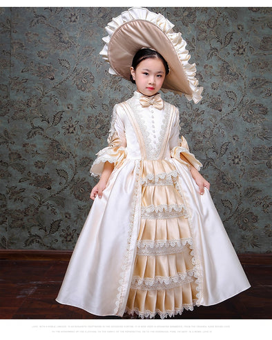 Kid Child Girls Champagne Gown 18th Century Queen Victorian Marie Antoinette Dress with Hat