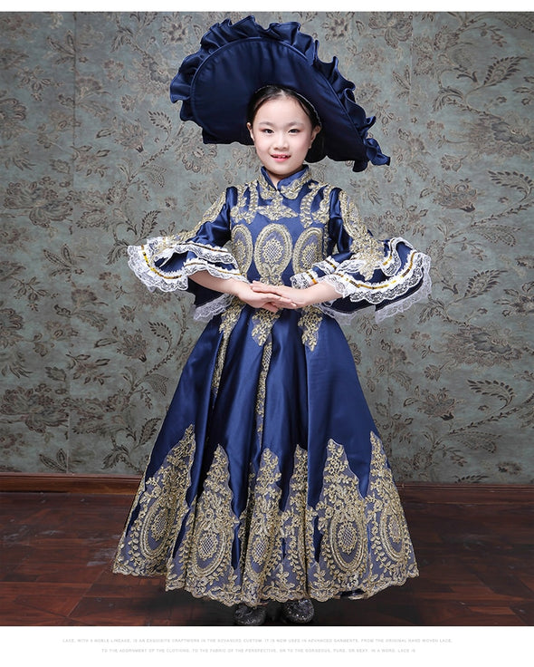 Kid Child Girls Champagne Gown 18th Century Queen Victorian Marie Antoinette Dress with Hat - Cosplay Infinity