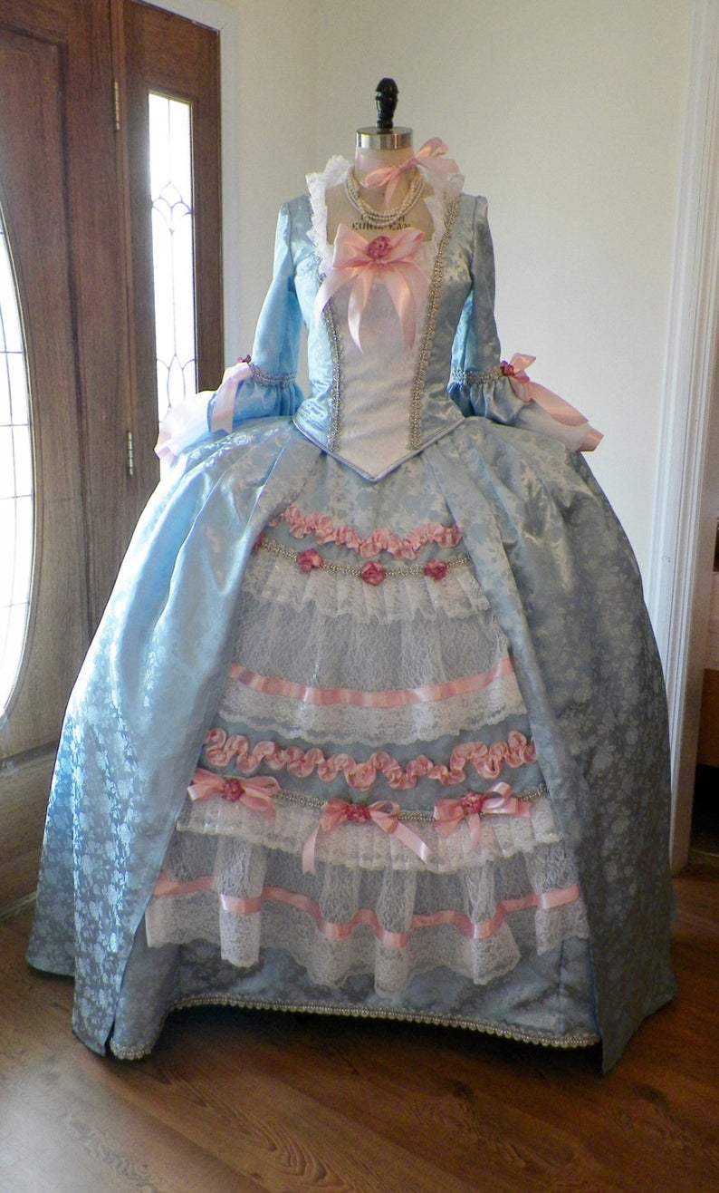 18th Century Marie Antoinette Colonial rococo blue ball gown dress costume