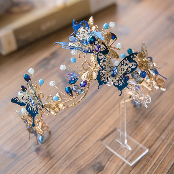 Unique Designs Blue Butterfly Crown Tiara Headpiece Handmade Beads Hair Accessories