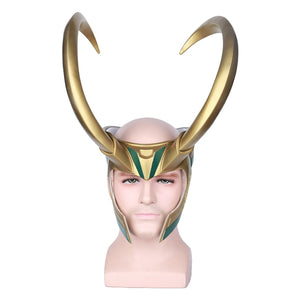 Loki Cosplay PVC Mask Half Face Mask -Golden Giant Horns Helmet Cosplay For Adult