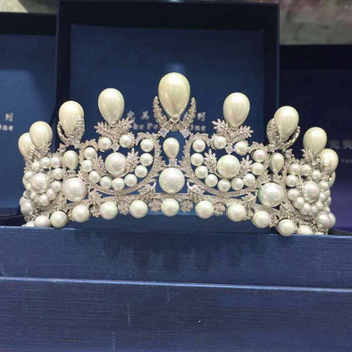 Gorgeous Princess Queen Crown Wedding Tiara Oversize Bridal Hair Accessories Cubic Zircon Pearls