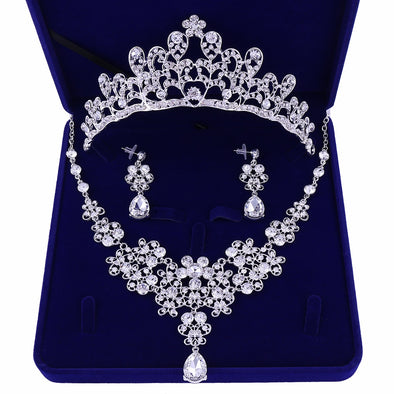 Silver Plated Crystal Bridal Wedding Party Jewelry Set Tiara Crown Necklace Earrings - Cosplay Infinity