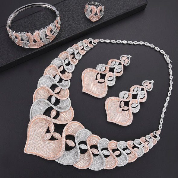 Cubic Zircon Women Wedding Bridal Jewelry Sets Luxury Big Statement Collar Necklace Dangle Earrings Bangle Ring