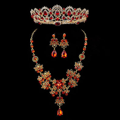 Baroque Vintage Gold Red Crystal Bridal Jewelry Sets Rhinestone Tiaras Crown Necklace Earrings Set Wedding Accessory
