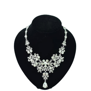 Chic Flower Wedding Bridal Jewelry Set Tiara Crown Drop Earrings Necklace - Cosplay Infinity