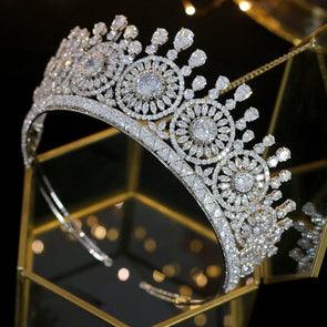 Classic elegant zirconia crystal tiara bridal crown high quality luxury crown - Cosplay Infinity
