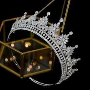 High-end Zirconia Tiaras Crown Crystal Bridal Wedding Hair Accessories - Cosplay Infinity