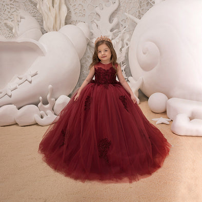Elegant Embroidery Little Flower Girls Dress Ball Gown Sleeveless
