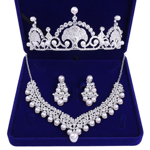 Crystal Pearl Bridal Jewelry Sets Rhinestone Choker Necklace Earrings Tiaras Crown