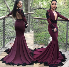 Sexy Burgundy Grape Sheer Scoop Mermaid Prom Dresses Black Appliqued Long Sleeves Plunging Neckline - Cosplay Infinity