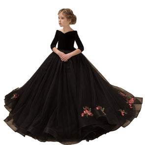 Long Sleeve Evening Ball Gown Black Formal Girls Pageant Dress Wedding Flower Girl Dresses Long Train - Cosplay Infinity