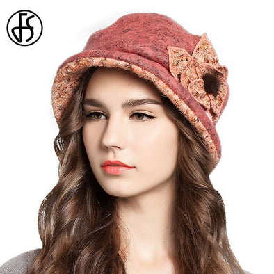 Women Wool Hats Wide Brim Fashion Flower Bucket Hat Warm Foldable - Cosplay Infinity