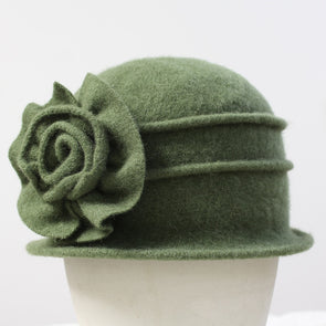 Lady Elegant Beret Cap Fashion Hat Flower Wool - Cosplay Infinity