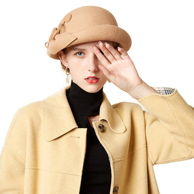 Elegant Formal Women Wool Felt Hat Winter Fedoras Cloche Bowler Cap with Flower - Cosplay Infinity