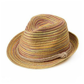 New Women Bohemia Striped Straw Jazz Hat With Rope Beach Panama Stylish Fedora - Cosplay Infinity