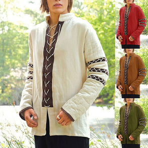 Medieval Shirt Tunic Vintage Cotton Stand Collar Viking Costumes Cosplay Renaissance