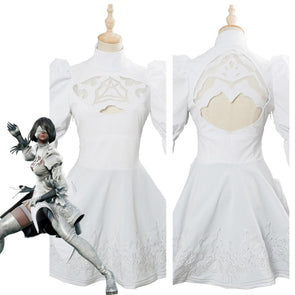 Soul Calibur 6 2B Cosplay Costume Outfit White Dress For Girls Halloween Carnival Costumes
