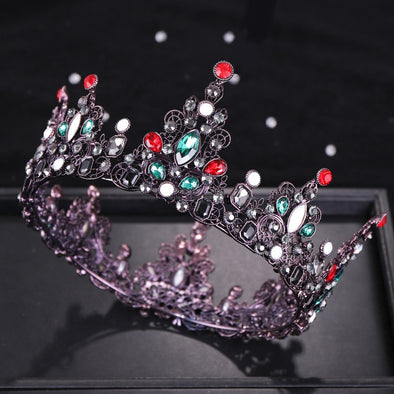 Vintage Baroque Wedding Crown Luxury Black/Red/Green/White Crystal Bridal Tiara Round Crown