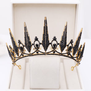 Black Crystal Bridal Crowns And Tiaras Wedding Hair Accessories Statement Cosplay