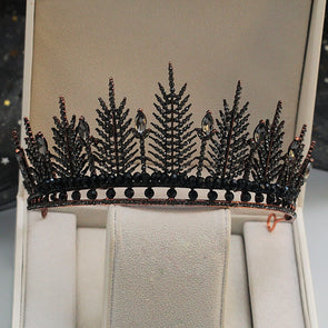 New Black Crystal Wedding Crown Bridal Tiara Vintage Baroque
