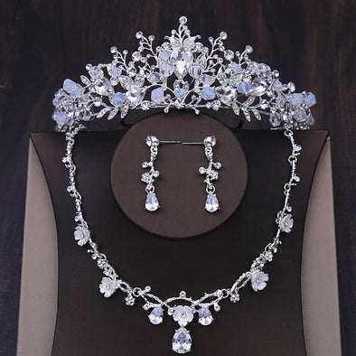 Handmade Crystal Beads Bridal Jewelry Sets Rhinestone Crown Tiara Necklace Earrings