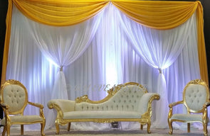 10ft(H) * 20ft(W) Yellow&white Wedding Backdrop wedding Stage curtain with Gold Swag