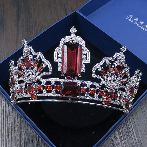 Luxurious Bridal Large European Full Zircon Tiara Crown Square Baroque Red/Blue Zircon
