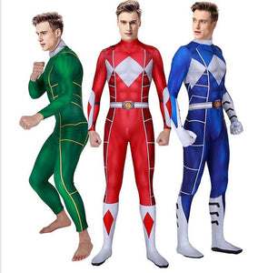 3D Print Mighty Morphin Power Rangers Cosplay Costumes Red/Blue/Green Zentai Suit