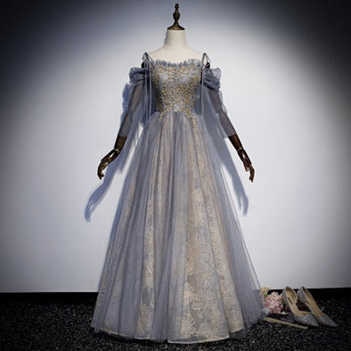 Grey Golden Beaded Medieval Renaissance Marie Antoinette Ball Gown