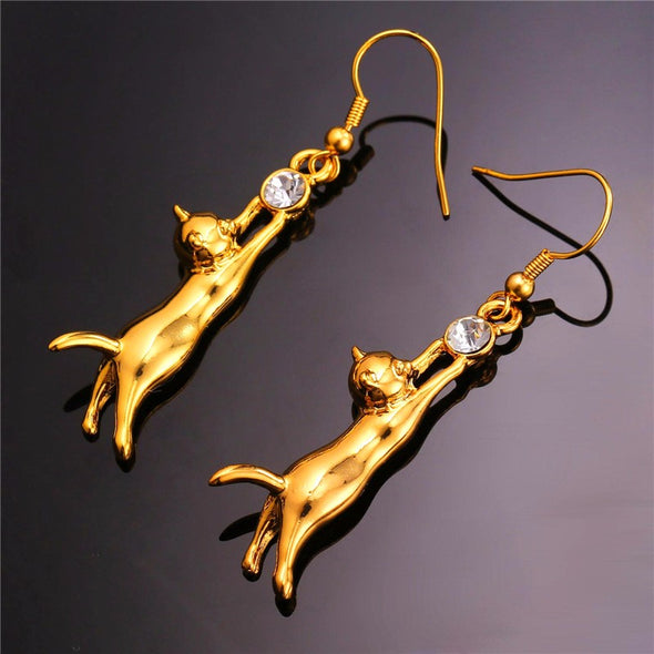 Cat Earrings Dangle Lovely Gold Silver Color Rhinestone Fashion Jewelry - Cosplay Infinity