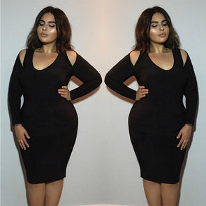 Women Plus Size Sheath Dress Solid Sexy V Neck Hollow Out Bodycon Gown