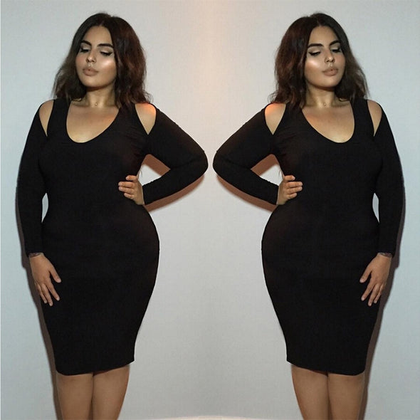 Women Plus Size Sheath Dress Solid Sexy V Neck Hollow Out Bodycon Gown - Cosplay Infinity