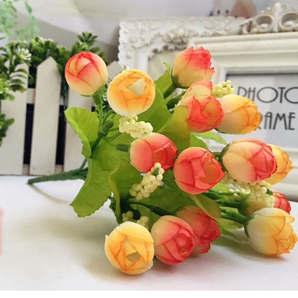 15 Heads Artificial Rose Silk Flower Leaf Home Decor Costume - Cosplay Infinity