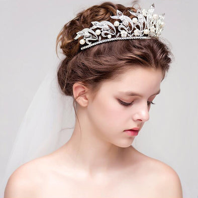 Gorgeous Crystal Crown Rhinestone Tiara Bridal Wedding Hair Accessories Silver Plated Hair Jewelry