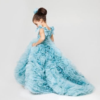 Sky Blue Sleeveless Ruffles Flower Girl Dress Little Princess Ball Gown First Communion Dress - Cosplay Infinity
