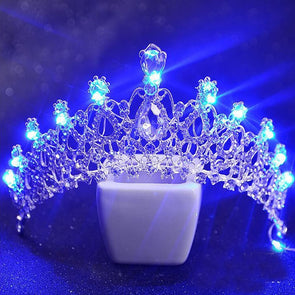5 Colors LED Wedding Tiara with Light Crystal Luminous Crown Light Tiaras Girls Pageant Cosplay Party