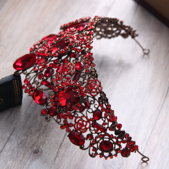 Gorgeous Red Crystal Baroque Queen Tiara Crown Women Prom Diadem  Wedding Bridal Hair Jewelry Accessories Cosplay