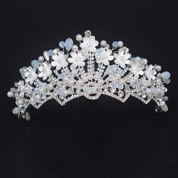 Gorgeous Handmade Pearl Rhinestone Flower Princess Crown Tiaras Diadem for Bridal Wedding Hair Jewelry Accessories