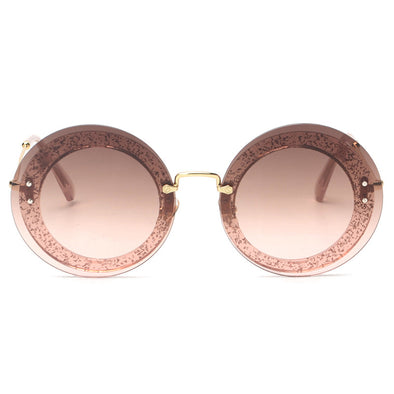 Round Rimless Sunglasses Women Vintage Sun Glasses Women Female Brand Design Mirrored Lens - Cosplay Infinity