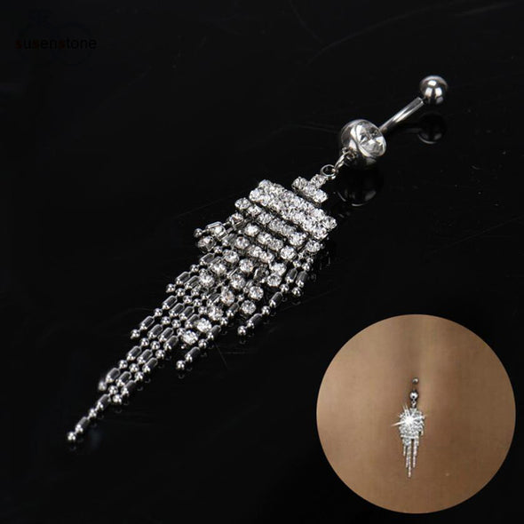 SUSENSTONE Hot Rhinestone Tassel Navel Dangle Button Belly Ring Bar Body Piercing Jewelry - Cosplay Infinity