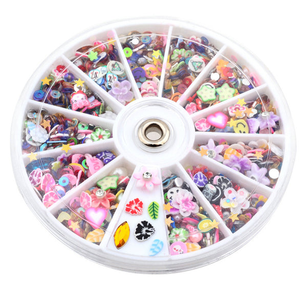 Mixed Fimo Resin Sequin Colorful Design Glitters Rhinestone Decoration Manicure Nail Wheel Tools - Cosplay Infinity