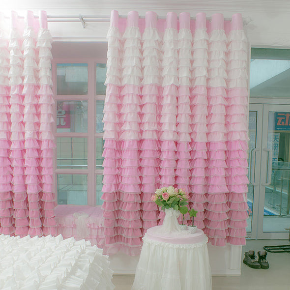 New European and American Cake Layers Pink Rainbow Curtains Princess Bedroom Flat Bay Window - Cosplay Infinity
