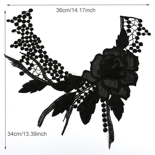 Black Fabric Flower Lace Sewing Lace Collar Neckline Applique - Cosplay Infinity
