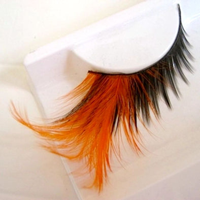 Orange Feather False Eyelashes Pure Handmade Winged Exaggerated Soft Lashes - Cosplay Infinity