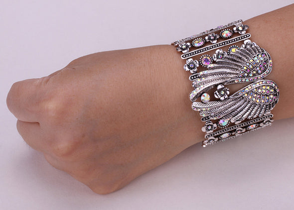 Yacq Crystal Wings Feather Cuff Bracelet - Cosplay Infinity