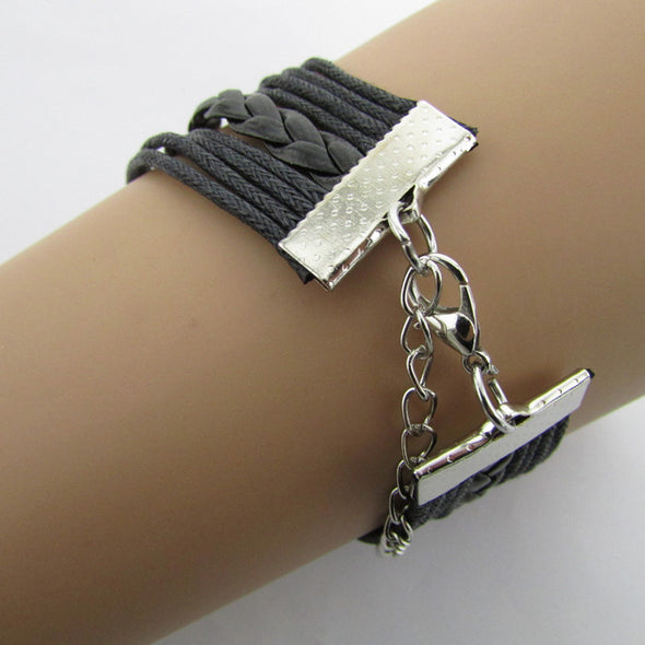 New Antique Silver Infinity Double Birds Note Charms Leather Wrap Bracelet - Cosplay Infinity